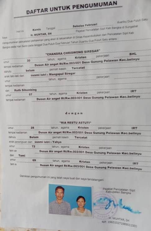 CHANDRA CHRISWONYO SIREGAR DENGAN RIA RESTU ASTUTI - (Ada 1 foto)